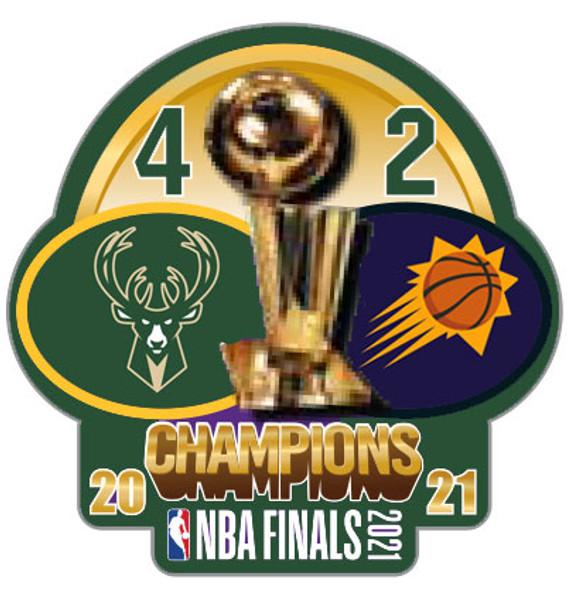 Milwaukee Bucks 2021 NBA Champions Pin w/ Games Won