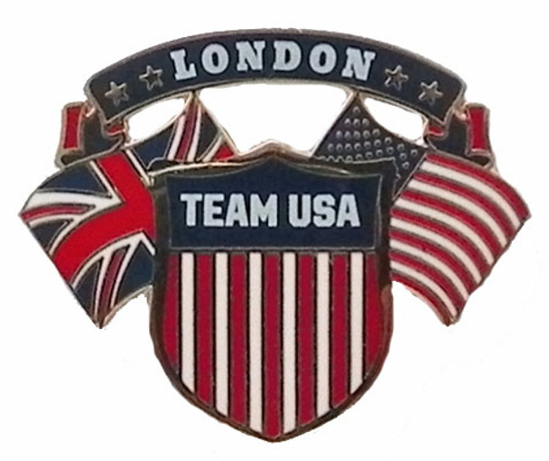2012 London Olympics Dual Flag Crest Pin