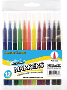 12 Fine Line Classic Color Washable Markers