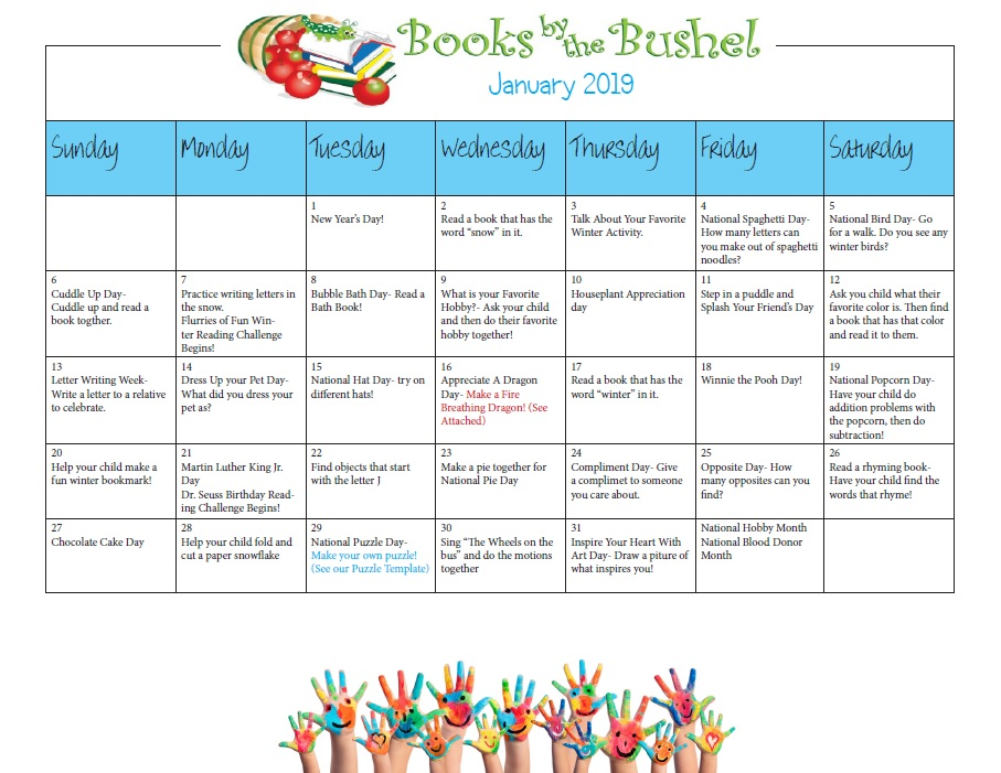 January 2019 Book It Calendar Books By The Bushel's 2019 Monthly Activity Calendars