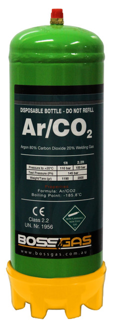 ARGON/CO2 2.2Lt DISPOSABLE GAS BOTTLE