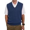 Men's Alpaca Wool Golf Links Sweater Vest - Denim Melange Blue Front