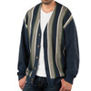 Striped Button Down Men's Alpaca Cardigan - Variegated Thick Stripe - Front, Un-buttoned
