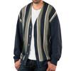 Striped Button Down Men's Alpaca Cardigan - Variegated Thick Stripe - Front, Un-buttoned