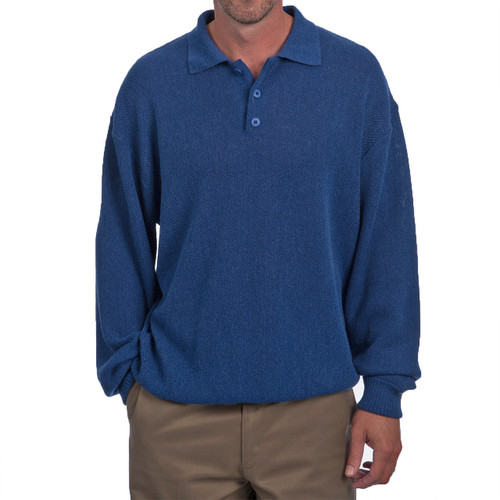 Men's Alpaca Golf Polo Sweater Front