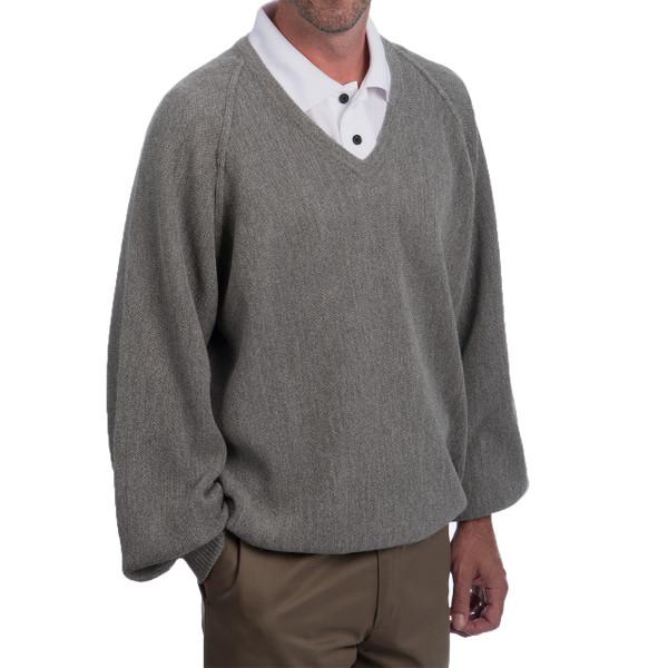 Men's Alpaca V-Neck Pullover - Retro Pro Side