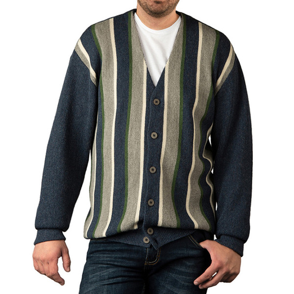 Striped Button Down Men's Alpaca Cardigan - Variegated Thick Stripe - Front, Buttoned