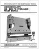 EM-446 (N-08-99) 400-2000 FM Hydraulic Press Brake - Operation, Safety and Maintenance Manual