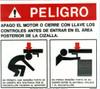 Safety Sign: Shear - Danger Rear (Spanish)