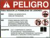 Safety Sign: Press Brake - Danger, Reduce Injury (Spanish)