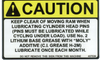 Safety Sign: Press Brake (Hydraulic or Mechanical) Caution Keep Clear of Ram when Lubricating (English)