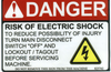 Safety Sign: Danger Risk of Electrial Shock (English)