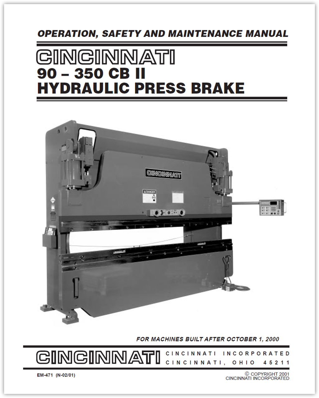 EM-471 (N-02-01) 90-350 CB II Hydraulic Press Brake - Operation, Safety and Maintenance Manual for Machines Built After October 1, 2000