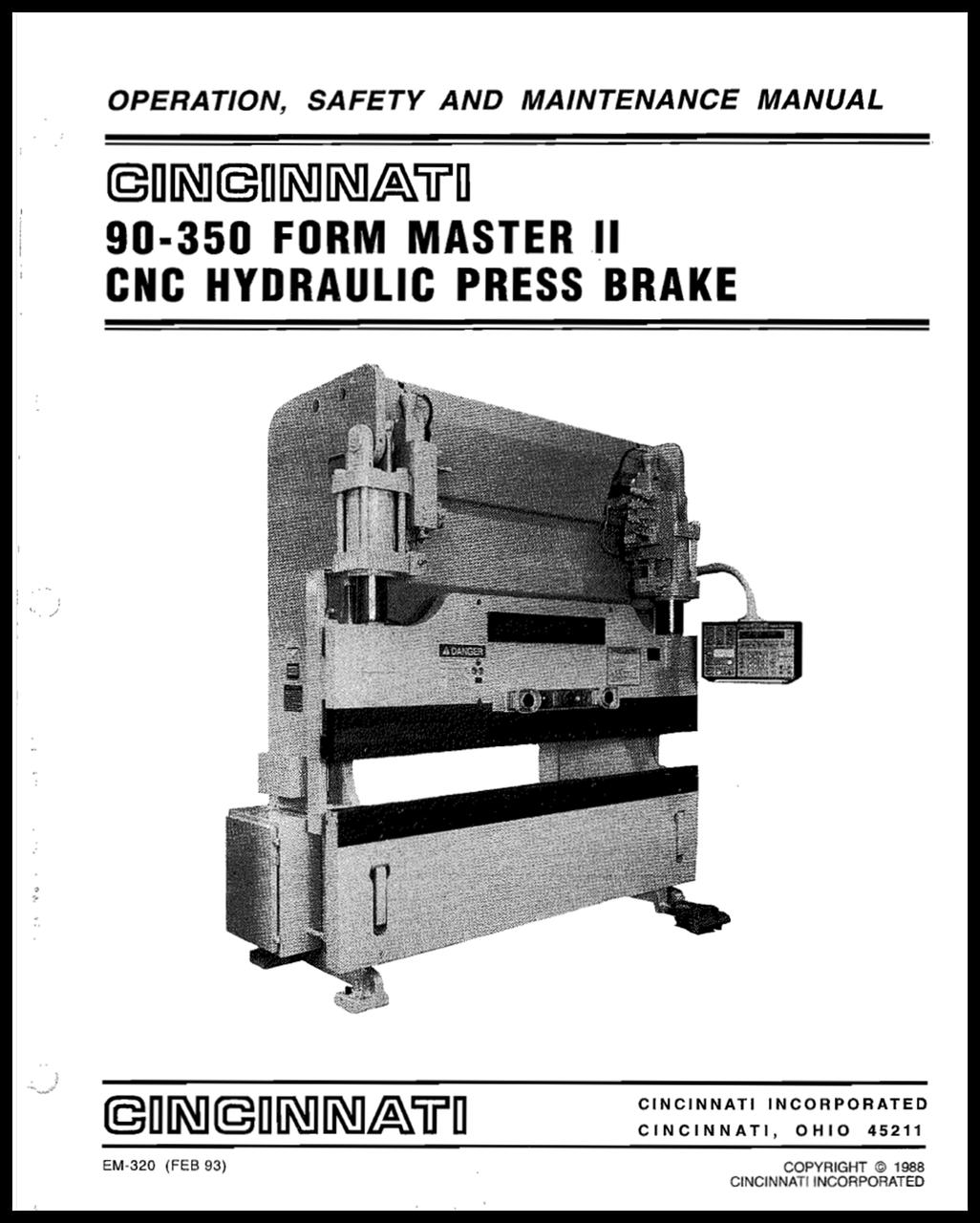 EM-320 (R-02-93) 90-350 FMII Hydraulic Press Brake Operation, Safety and Maintenance Manual