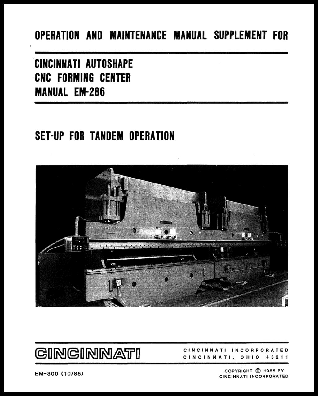 EM-300 (10-85) Set-up for Tandem Operation