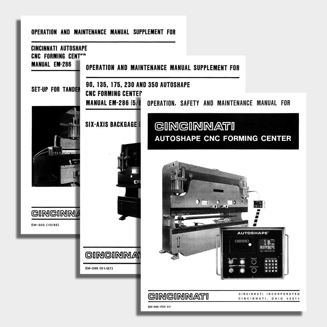 Autoshape CNC Press Brake Manual Bundle - Cincinnati