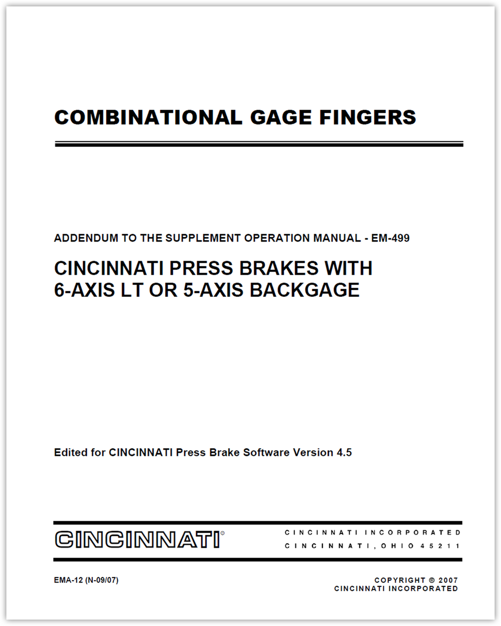 EMA-12 (N-09-07) COMBINATIONAL GAGE FINGERS