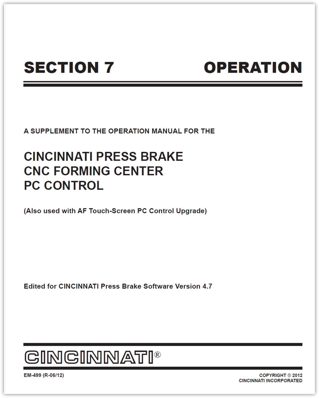 EM-499 (V47_R-11-12) SECTION 7 OPERATION AUTOFORM PC Control Supplement Manual