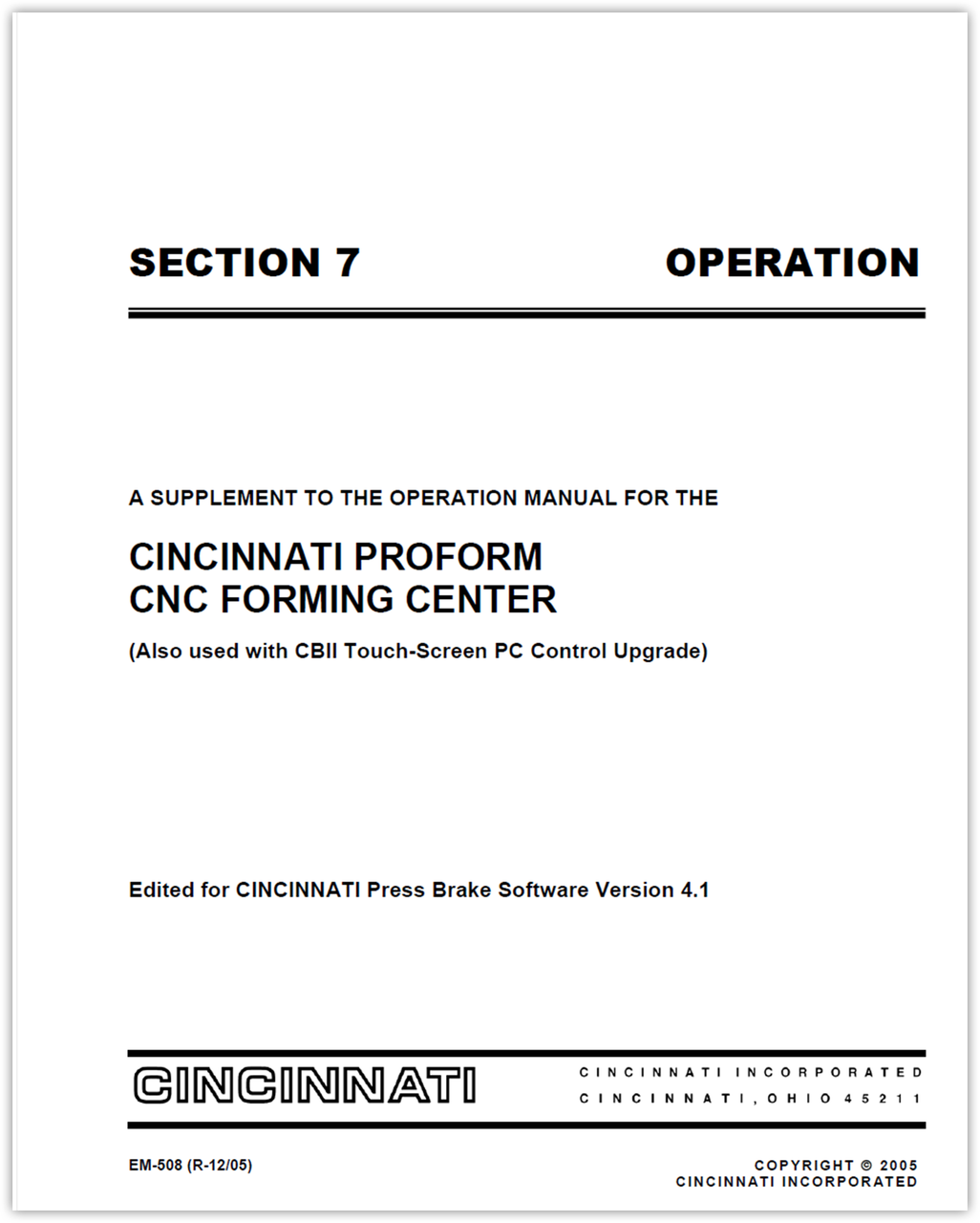EM-508 (V41_R-12-05) SECTION 7 OPERATION PROFORM PC Control Supplement Manual