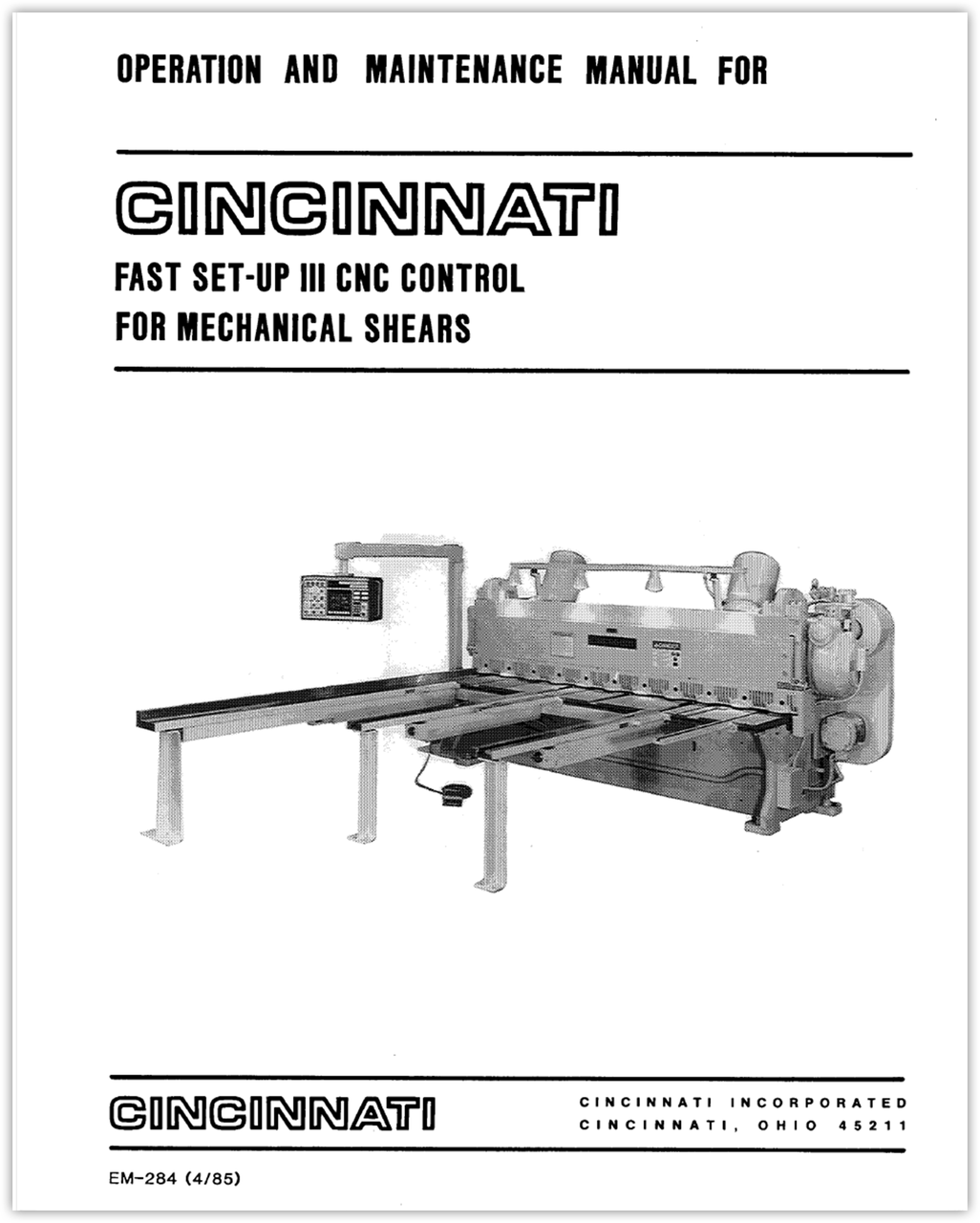 EM-284 (4-85) Fast Set Up III CNC Control for Mechanical Shears - Operation and Maintenance Manual