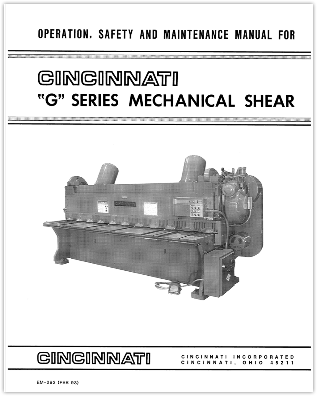 EM-292 (FEB 93) G Series Mechanical Shear Operation, Safety and Maintenance Manual