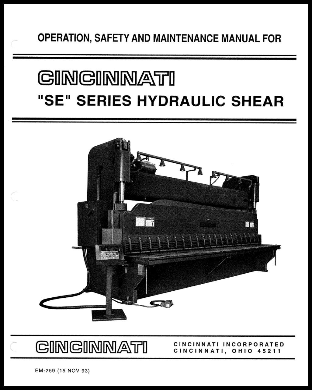 EM-259 SE Series Hydraulic Shear Operation, Safety, and Maintenance Manual