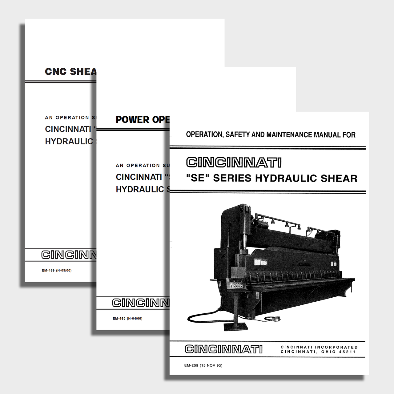 SE Series Hydraulic CNC Shear Manual Bundle