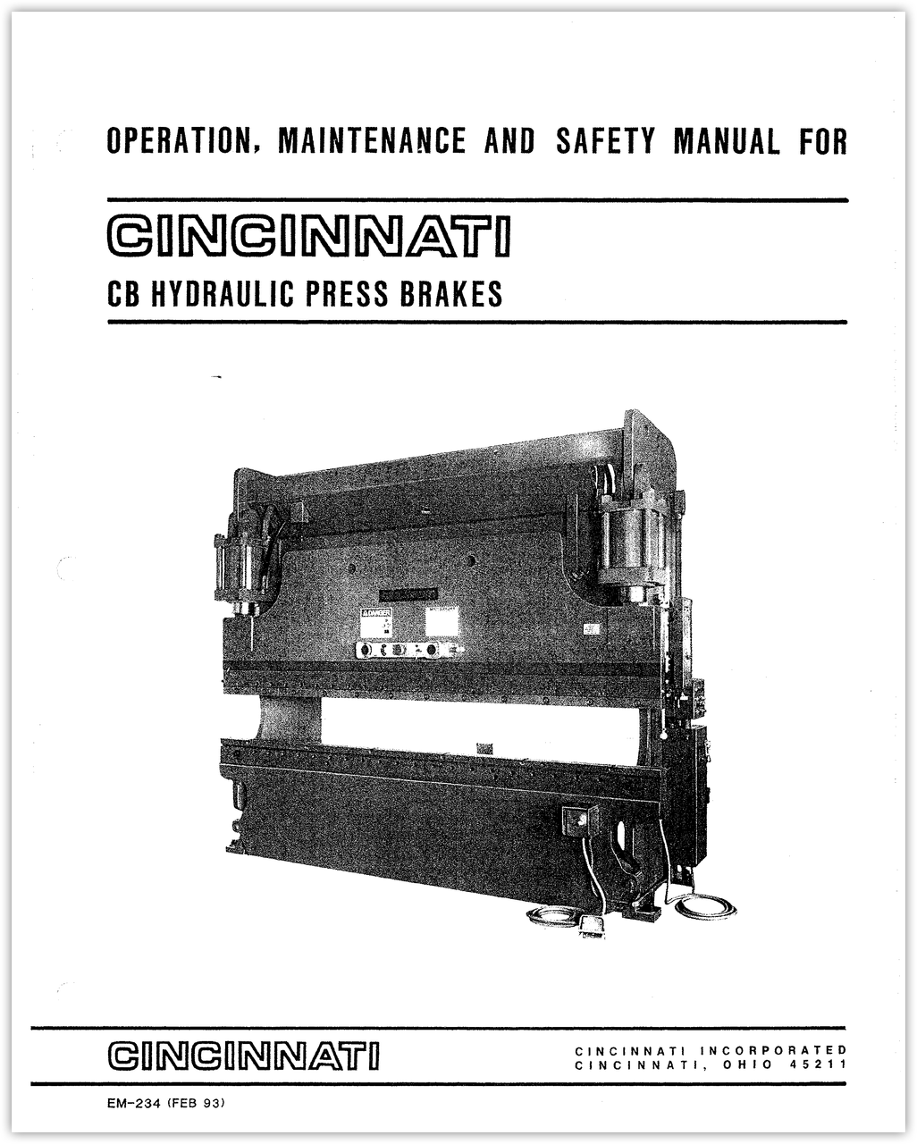 EM-234 (FEB 93) CB Hydraulic Press Brake - Operation, Safety, and Maintenance Manual