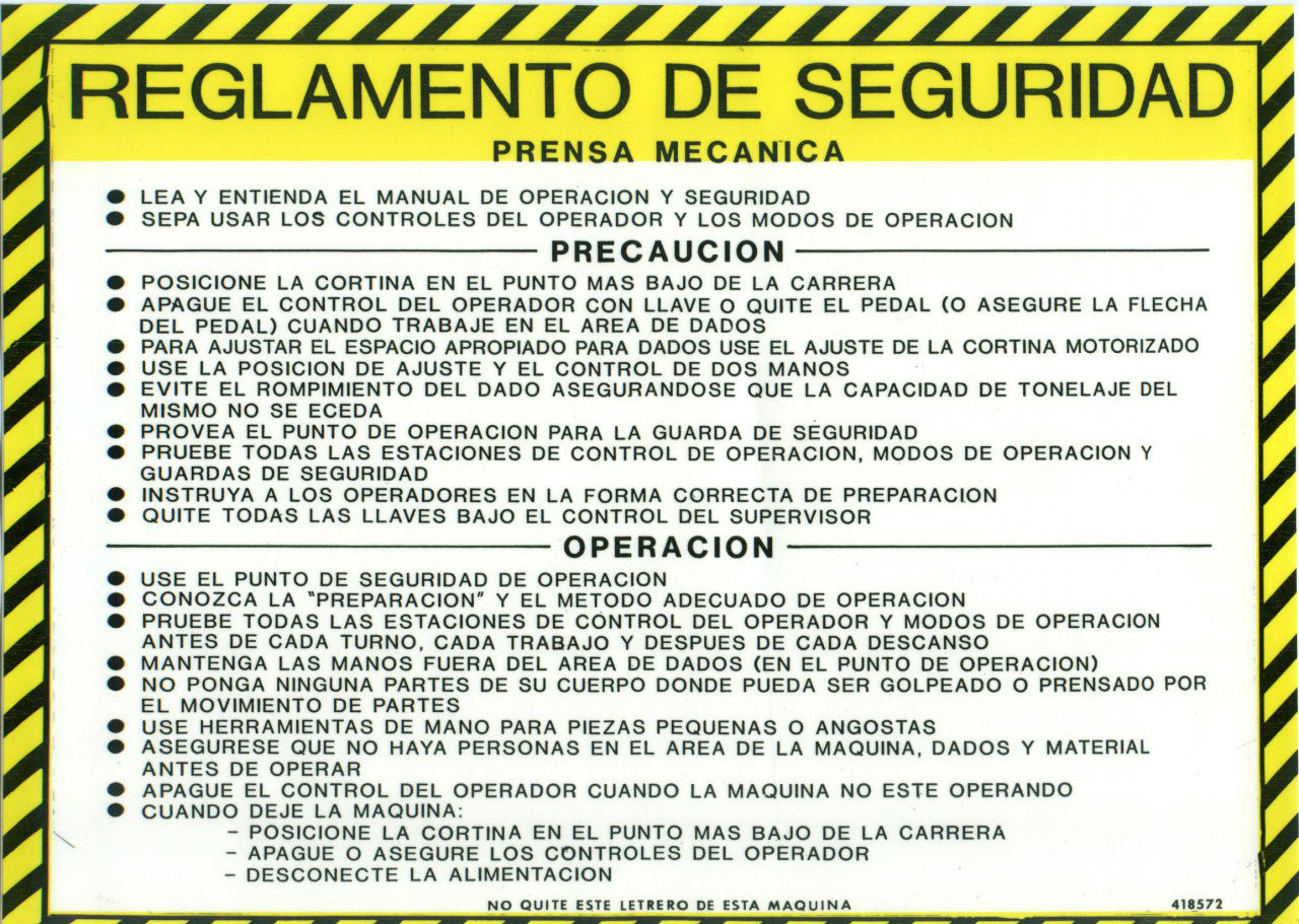 Safety Sign: Press Brake (Mechanical) - Safety Guidelines (Spanish)
