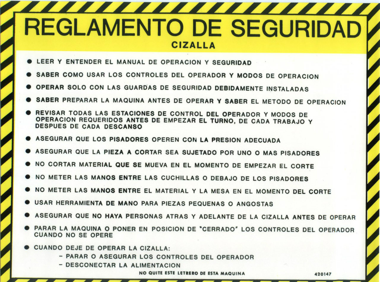 Safety Sign: Shear - Safety Guidelines (Spanish)