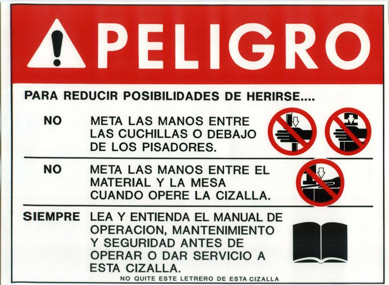 Safety Sign: Shear - Danger (Spanish)