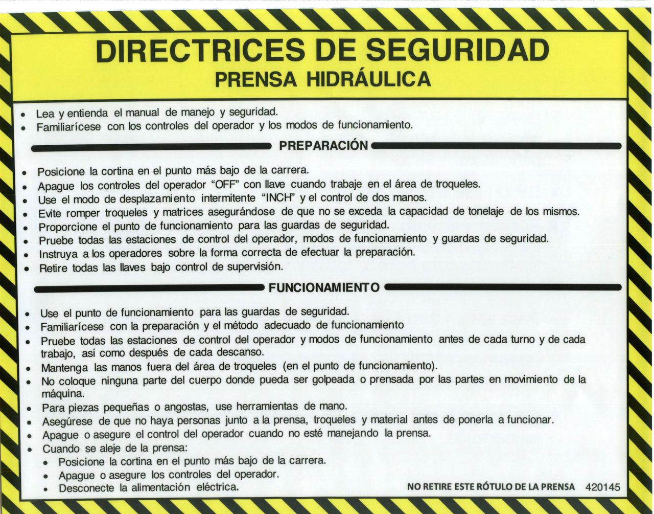 420145 Safety Guidelines (Spanish)