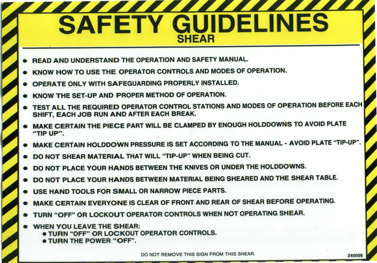 240006: Safety Sign: Shear - Safety Guidelines (English)