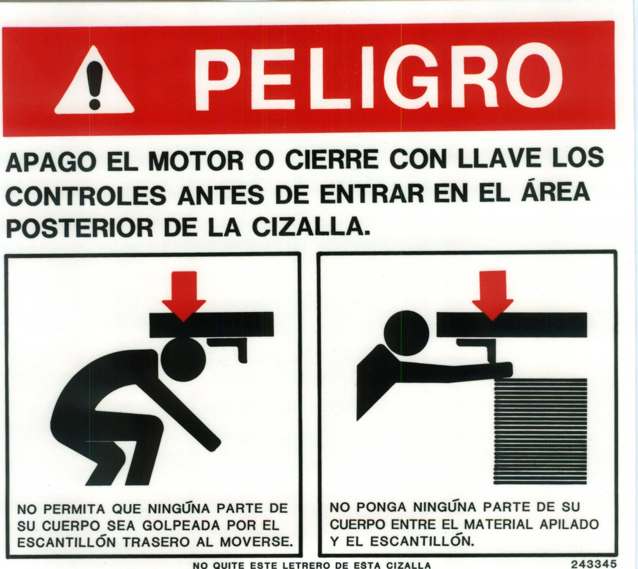 243345: Safety Sign: Shear - Danger Rear (Spanish)