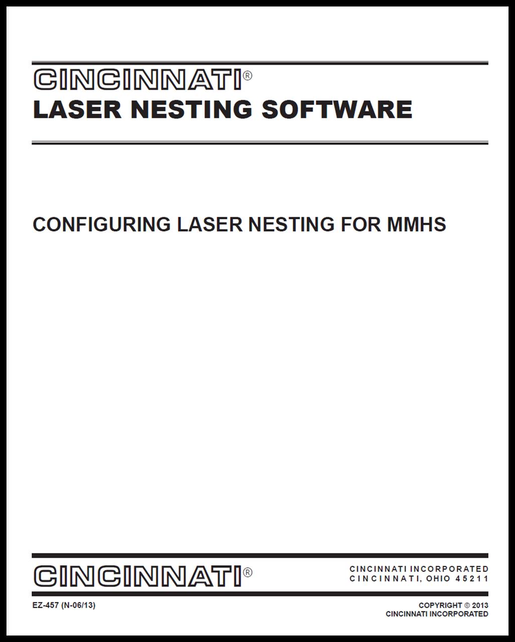 EZ-457 (N 0513) Configuring Laser Nesting for MMHS