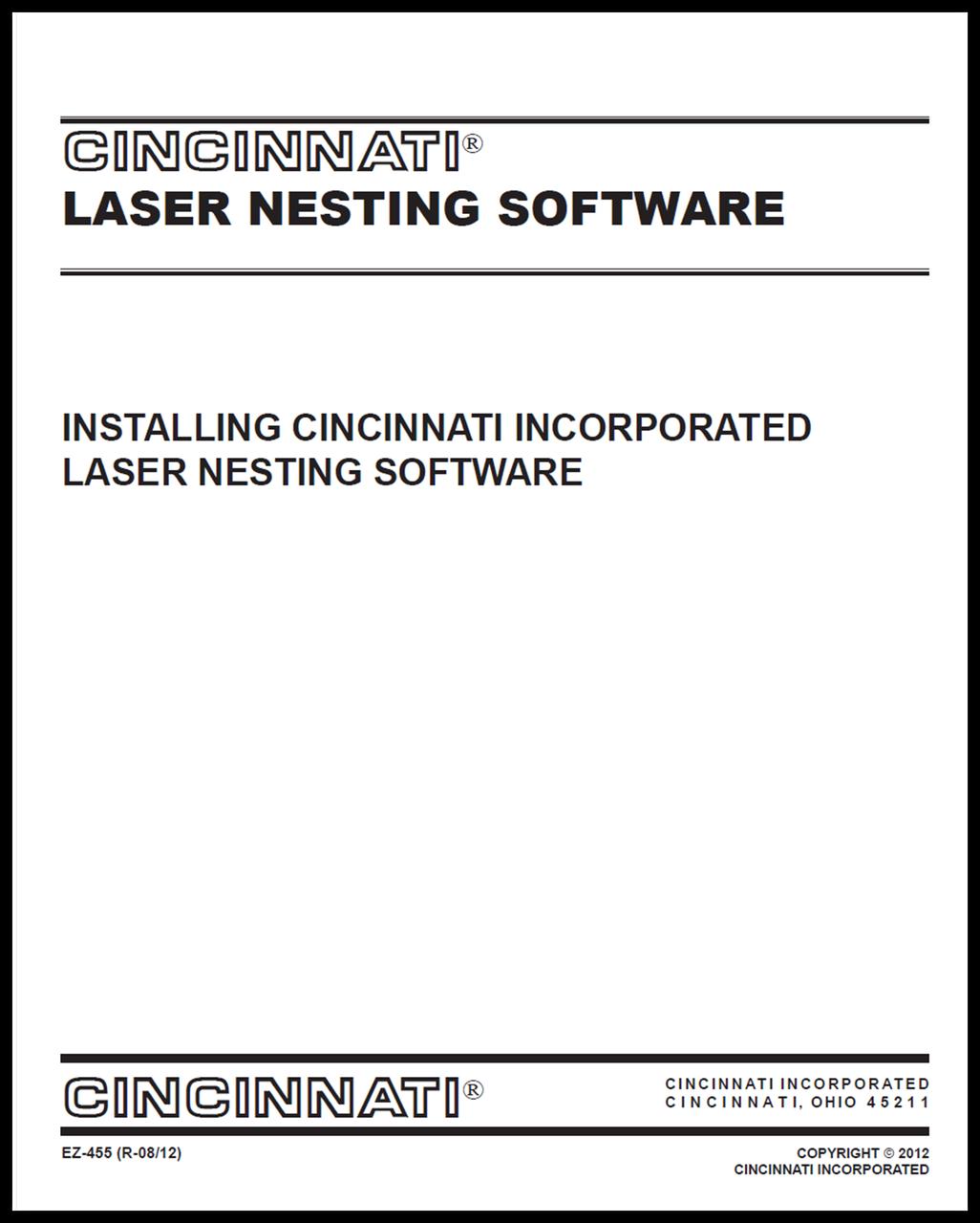 EZ-455 (R-08-12) Installing Laser Nesting Software