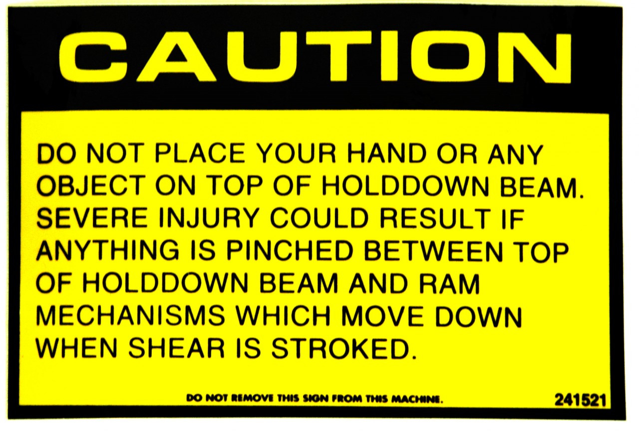 Safety Sign:  Shear - Caution Sign (English)