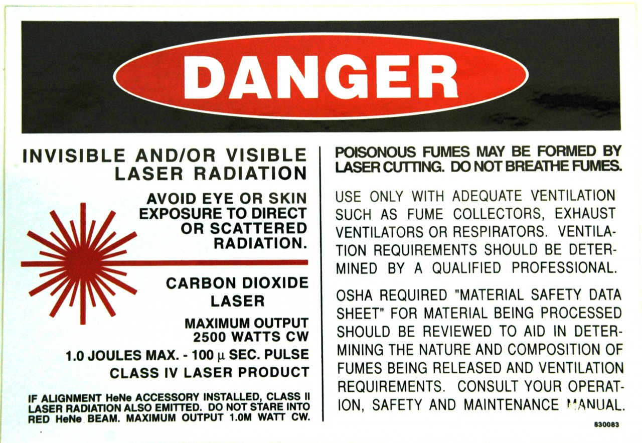 Safety Sign: Laser (CO2) - Danger, Laser Radiation (English)
