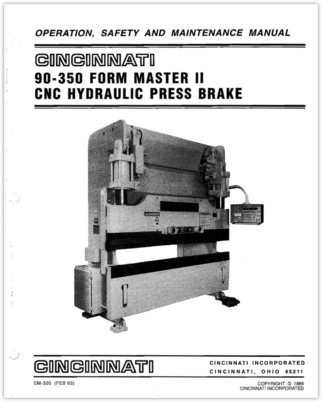 EM-320 (R-02-93) 90-350 FMII Hydraulic Press Brake Operation, Safety and Maintenance Manual