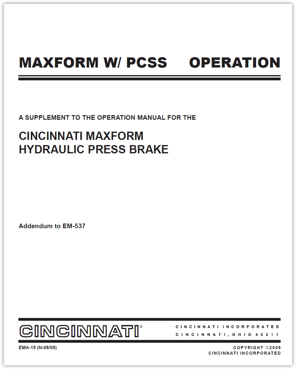EMA-15 (N-08-09) PCSS Supplement to MAXFORM Operation Manual