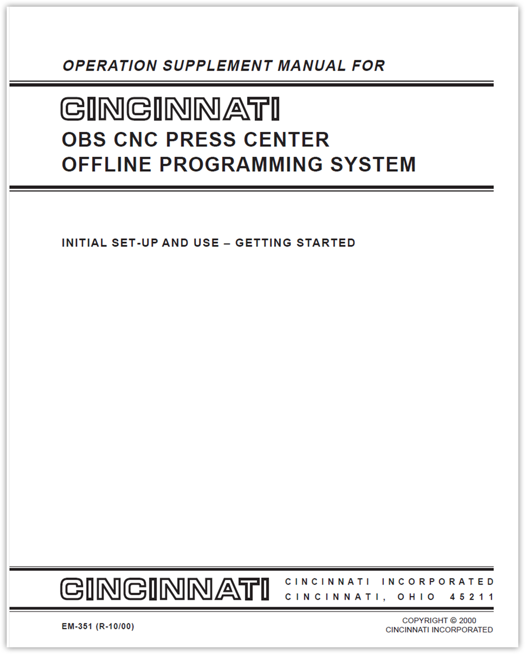 EM-351 (R-10-00) OBS CNC Press Center Offline Programming System - Operation Supplement Manual - Initial Set-up and Use - Getting Started
