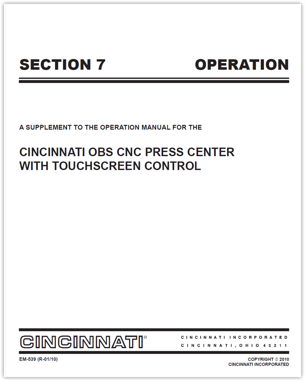 EM-539 (R_01-10) SECTION 7 OPERATION OBS TSC