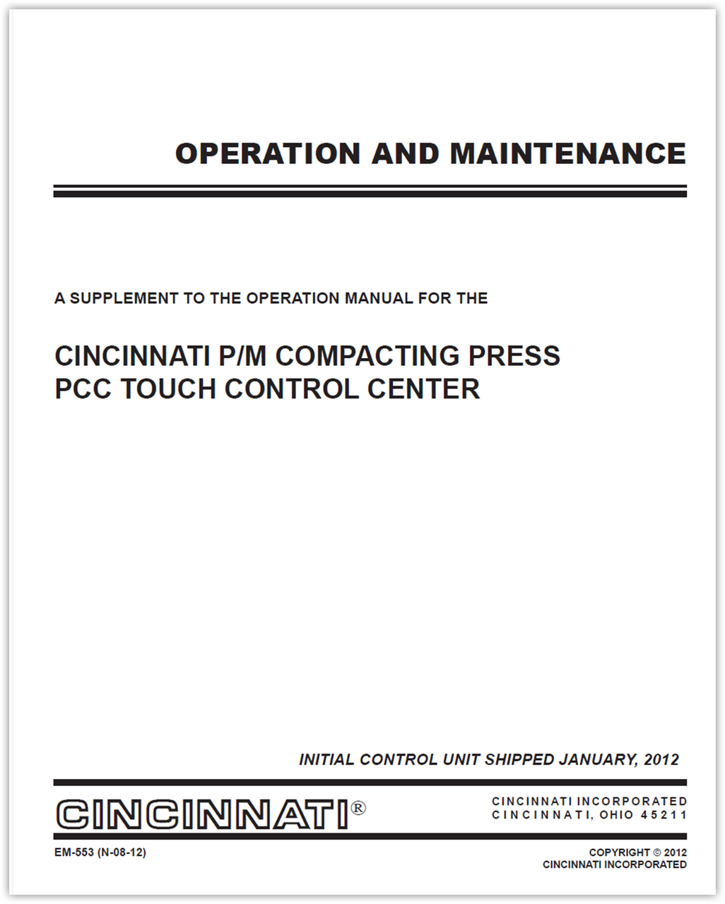 EM-553 (N-09-12) PCC Touch Control for Compacting Presses