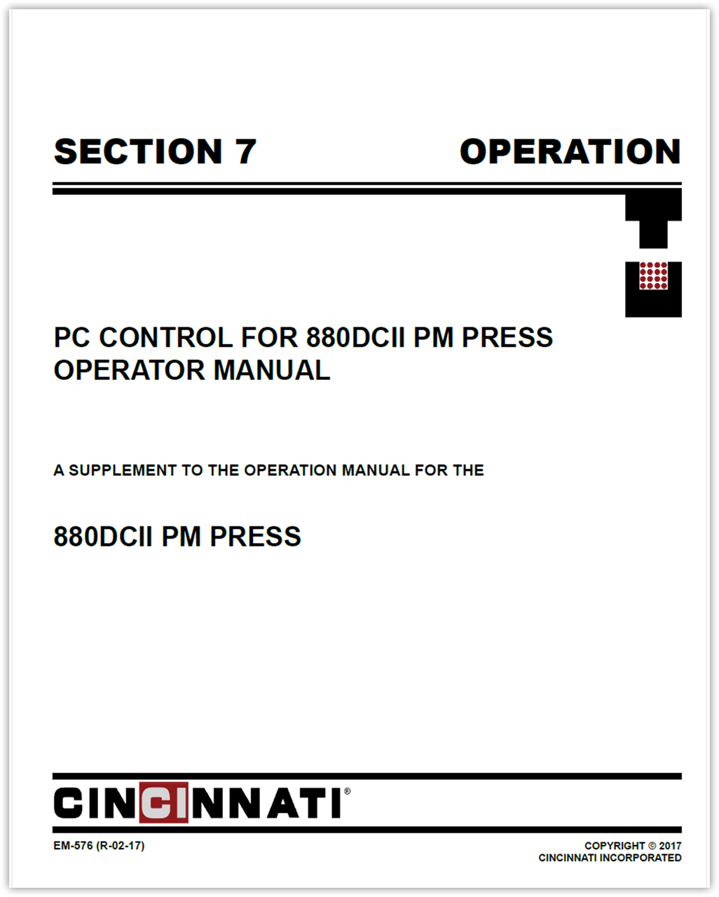 EM-576 (R-02-17) PC Control for 880DCII PM Press_Section 7_Operaton Manual