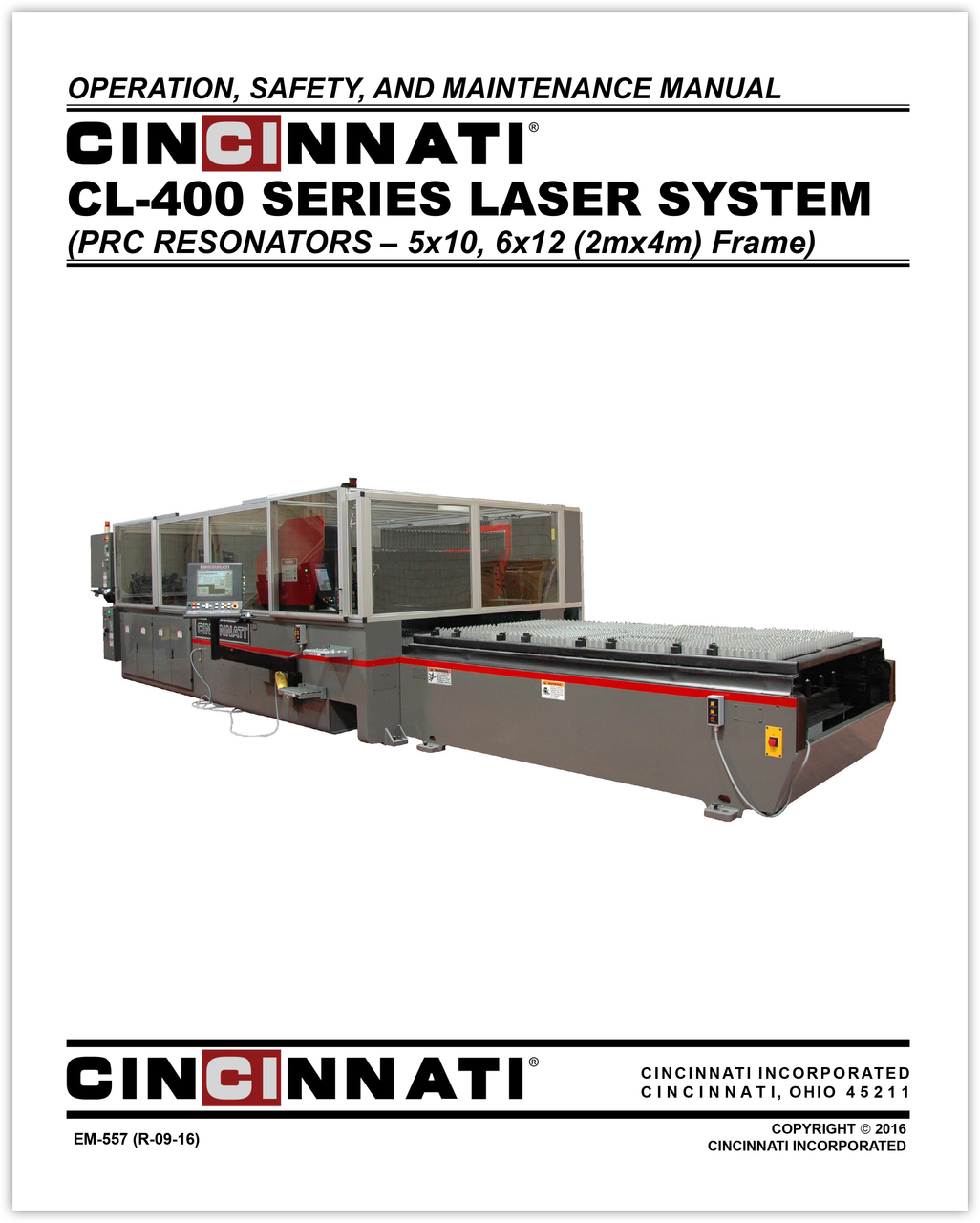 EM-557 (R-09-16) CL-400 Series Laser System_Operation, Safety and Maintenance Manual