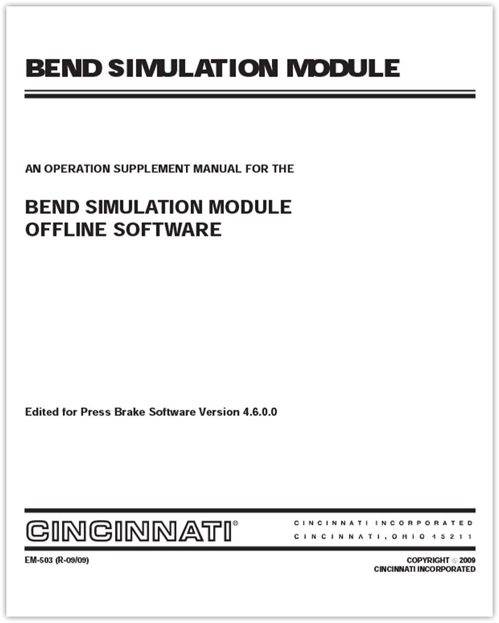 EM-503 Bend Simulation Offline Software (M,N,P,R,S,T,U,V)