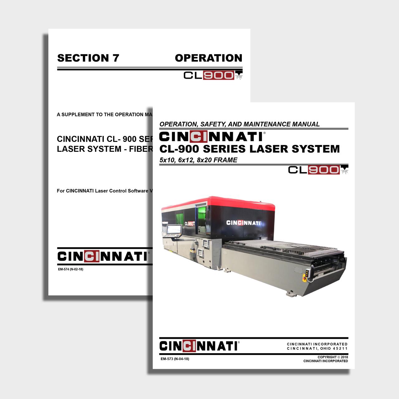 CL-900 (FiberCut2D head) Laser Center Manual Bundle