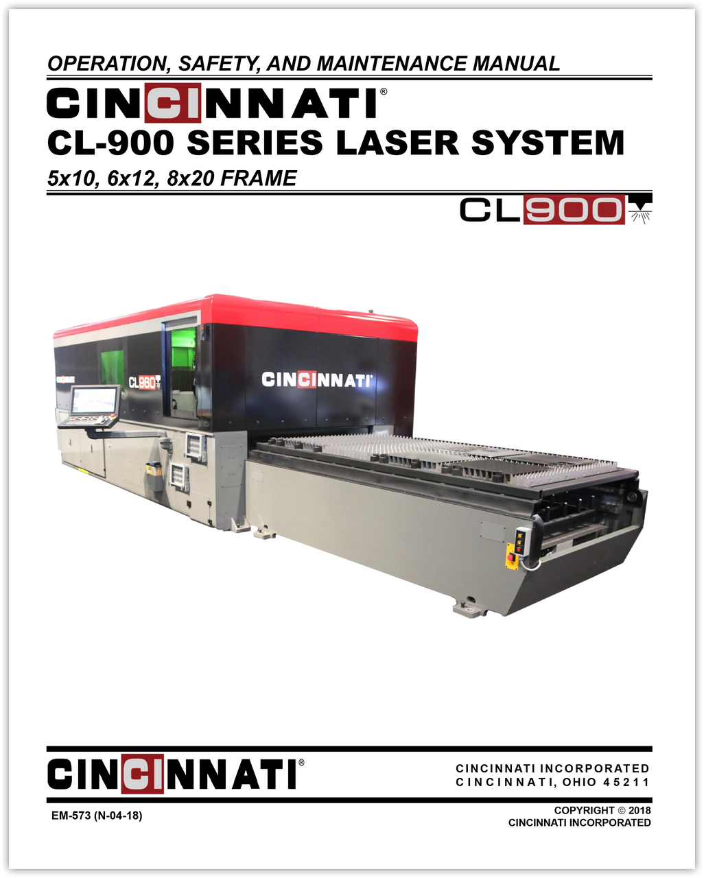 EM-573 (N-04-18) CL-900 Series Laser System Operation Safety and Maintenance Manual