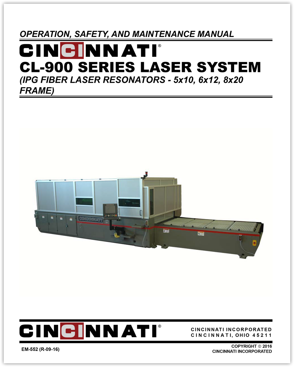 EM-552 (R-09-16) CL-900 Series Laser System Operation Safety and Maintenance Manual