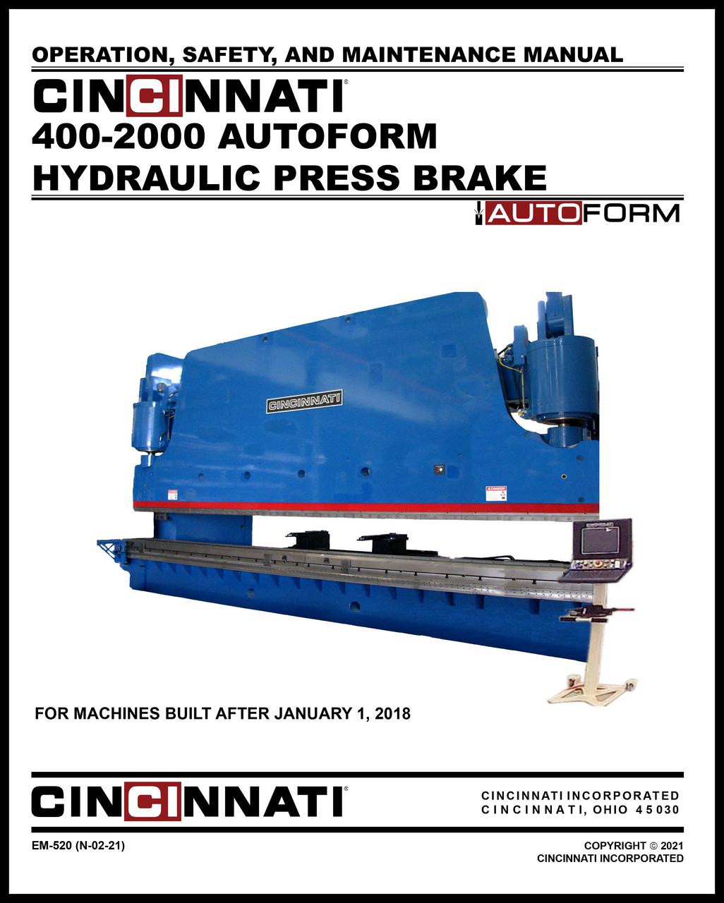 EM-520 (N-02-21) AUTOFORM 400-2000 Hydraulic Press Brake Operation, Safety and Maintenance Manual